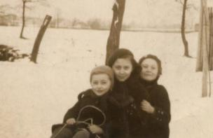 Gusta, me (middle) and Lea sledding
